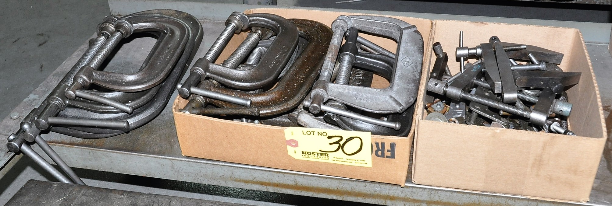 Lot 30 - C CLAMPS, KANT TWIST CLAMPS AND MISC. CLAMPS IN (2) BOXES AND (1) STACK