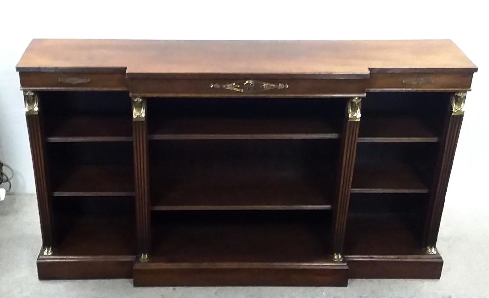 Lot 176 - Superb Quality Mahogany Empire Breakfront Open Bookcase Dimensions: 139cm W 30cm D 79cm H