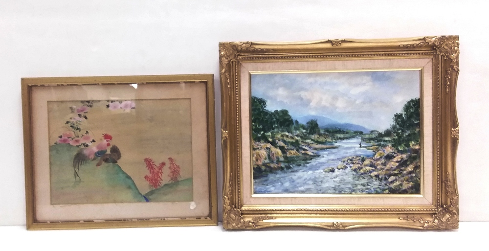 Lot 18 - Oriental Watercolour & Oil on Board