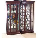Matching Pair of Mahogany Mirror Back Display Cabinets by Ethan Allen Dimensions:81cm W 31cm D