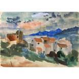 Werner Gilles. Porto d'Ischia.Aquarell. 1937. 31,3 : 44,0 cm. Signiert, datiert und mit Widmung