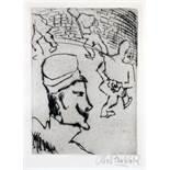 Otto Pankok. Rundgang im Gefängnishof. - Gefangener.- Zwei Radierungen. 1923. 19,0 : 13,5 cm (31,5 :