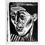 Karl Hubbuch. Frauenkopf (Ellen).Holzschnitt. 1953/54. 42,0 : 32,5 cm (68,5 : 47,0 cm). Signiert.