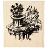 Alfred Kubin. Opiumraucher.Tuschfeder und -pinsel. 13,5 : 11,5 cm. Monogrammiert. Auf der