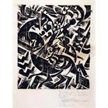 Johannes Molzahn. Hertwig gewidmet.Holzschnitt. 1919. 30,5 : 26,2 cm (60,0 : 45,2 cm). Signiert,