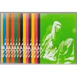 Joseph Beuys. Auf dem Flug nach Amerika.15 farbige Offsetdrucke. 1974. 14,8 : 10,5 cm. Signiert. Aus