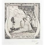 Exlibris - Heinrich Vogeler. Exlibris Ida Perutz.Radierung. 1904. 10,0 : 8,0 cm (20,8 : 15,0 cm).