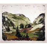 Max Kaus. Hügellandschaft.Farblithographie. 49,0 : 59,0 cm (55,3 : 70,0 cm). Signiert, betitelt