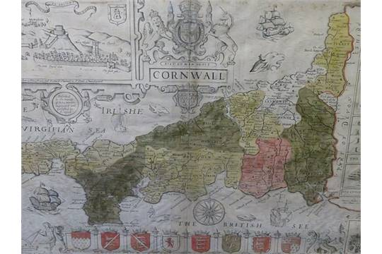 John Speed Map Of Ireland.Circa 1630 A 17th Century John Speed Map Of Cornwall And The Irish