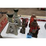 (LOT) BOTTLE JACKS AND JACK STANDS TO 20 TON