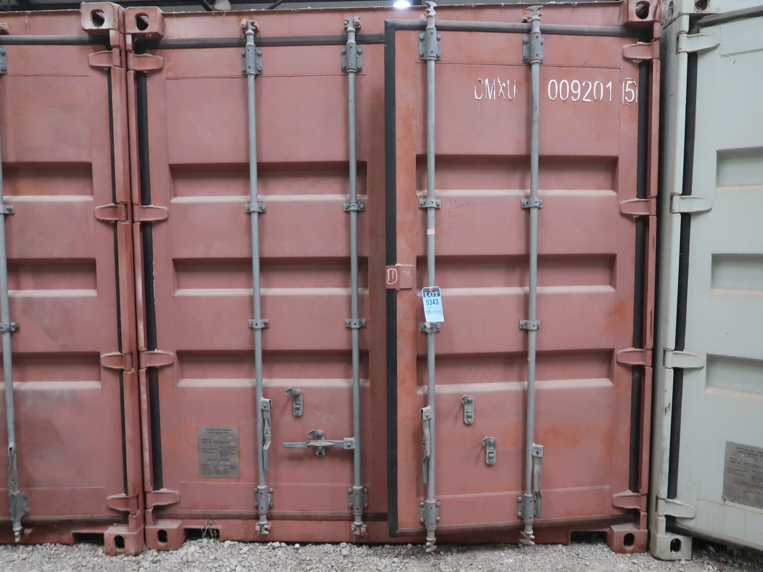 Lot 343 - 8' WIDE X 20' LONG CHARLESTON MARINE CONEX STORAGE CONTAINER WITH CONTENTS SAFETY EQUIPMENT