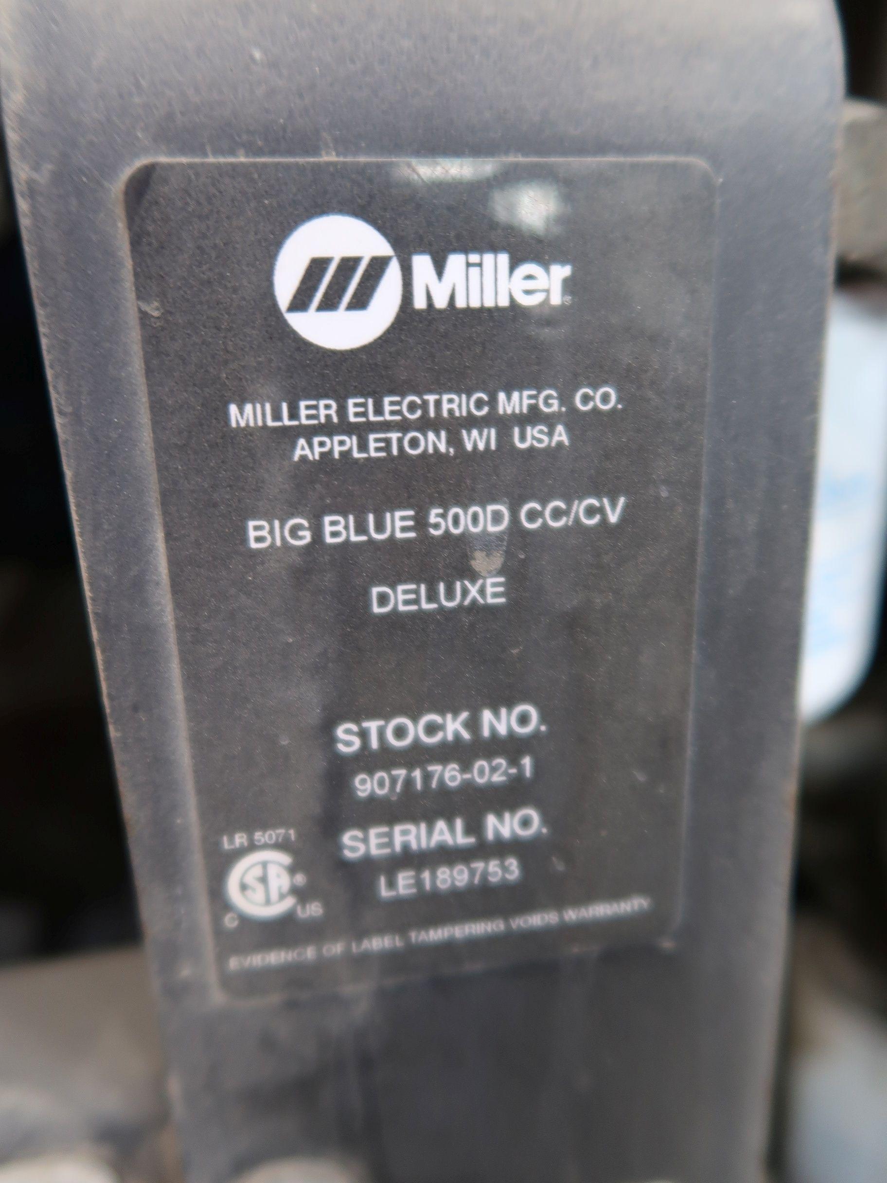 Lot 97 - MILLER MODEL BIG BLUE 500D TRAILER MOUNT DC WELDING / GENERATOR, 5,334 HOURS SHOWING; S/N LE189753