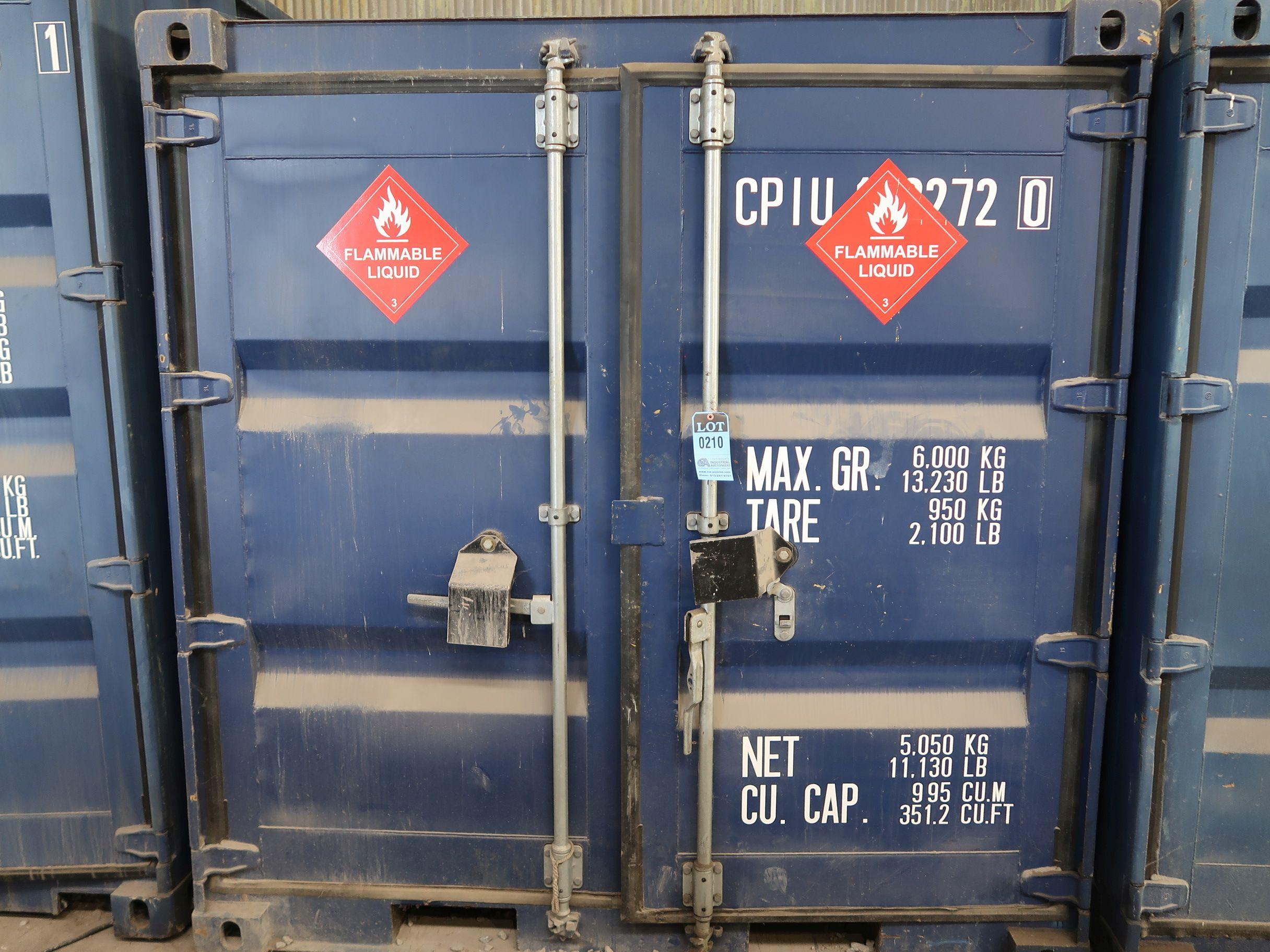"""Lot 210 - 86"""" X 96"""" X 89"""" X 351 CU. FT. CONEX STORAGE CONTAINER WITH STANDARD DOOR"""