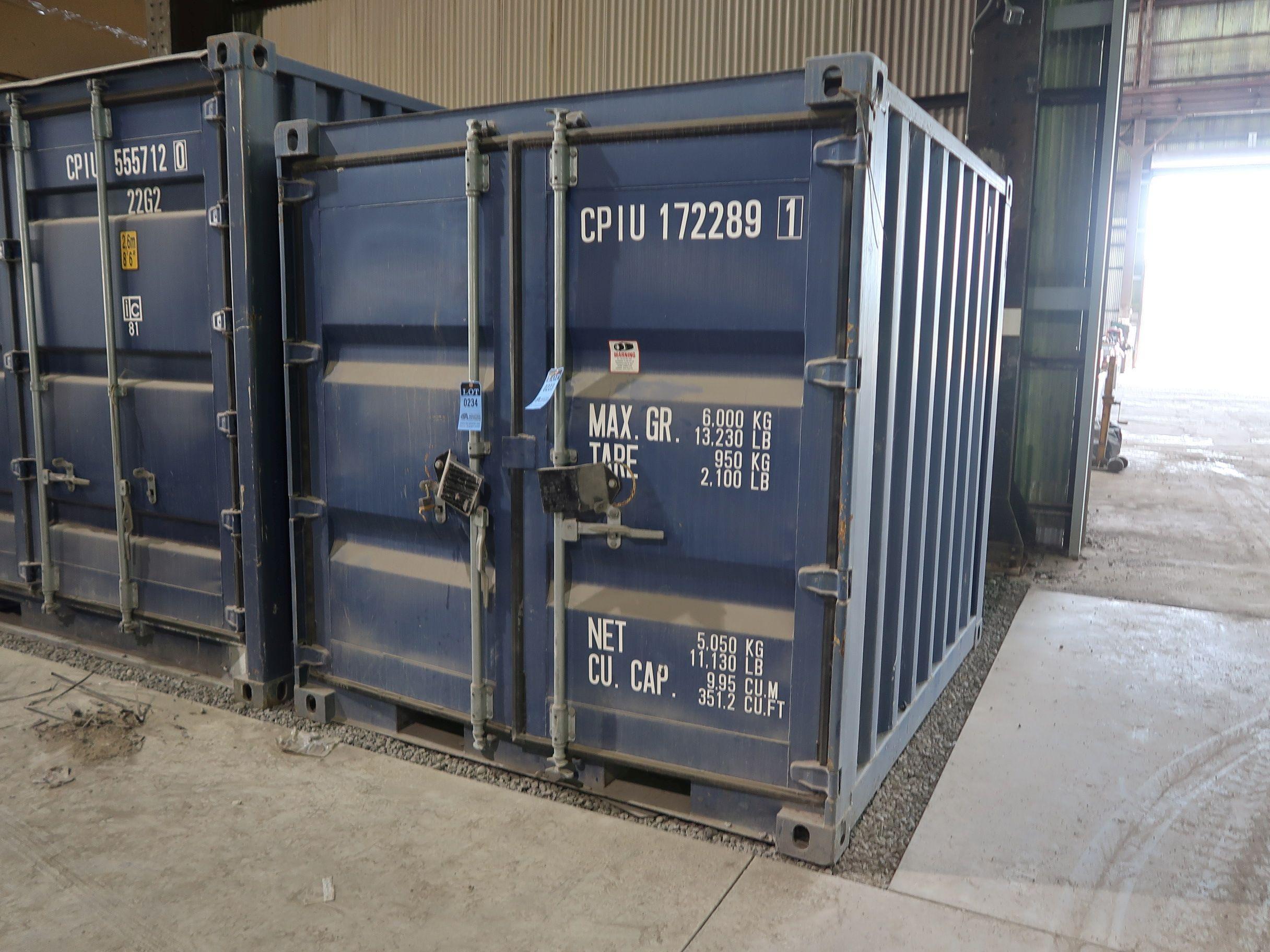 """Lot 234 - 86"""" X 96"""" X 89"""" X 351 CU. FT. CONEX STORAGE CONTAINER WITH STANDARD DOOR"""