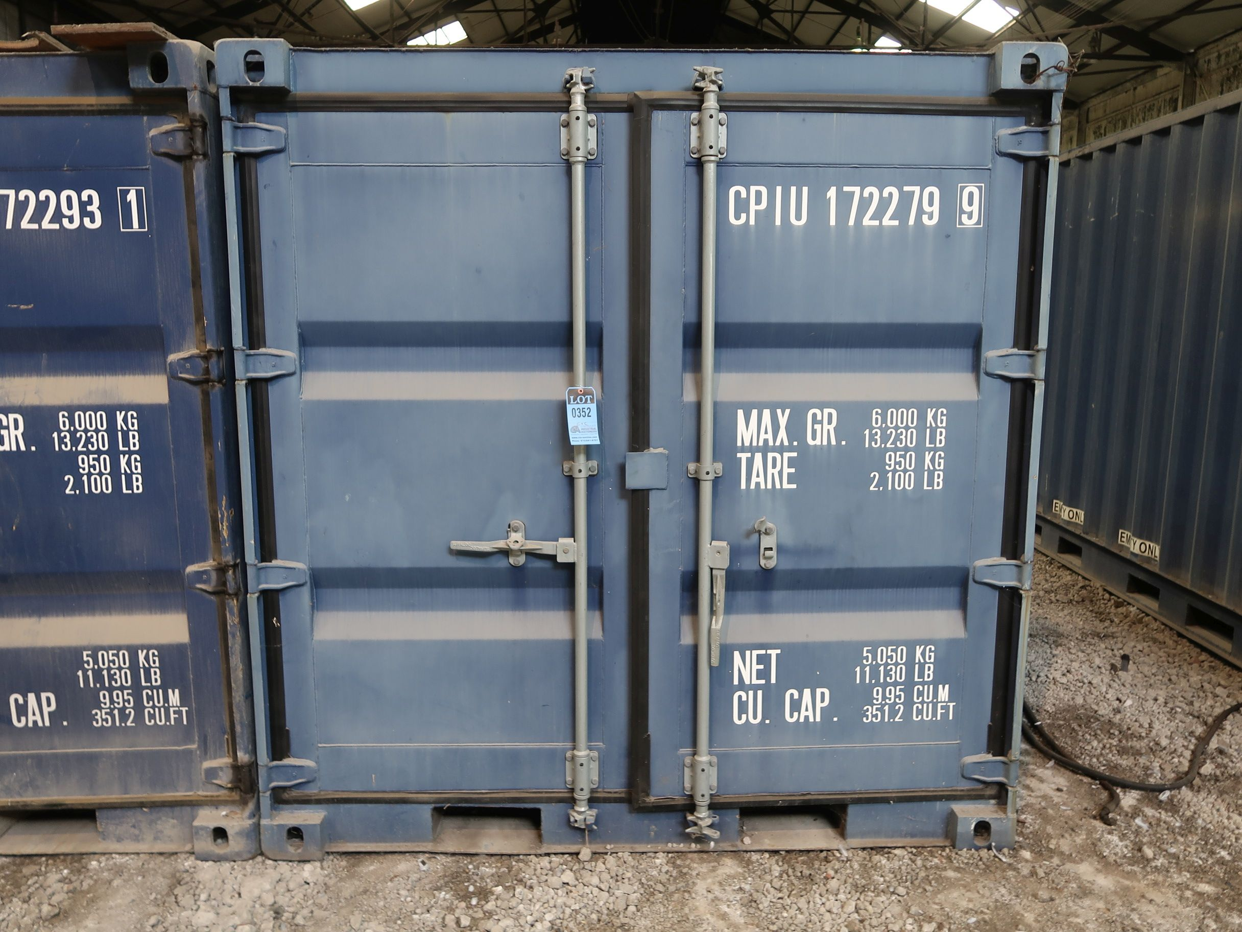 Lot 352 - 7' WIDE X 8' LONG CONEX STORAGE CONTAINER, 351 CU. FT. WITH MISCELLANEOUS STEEL PLATES