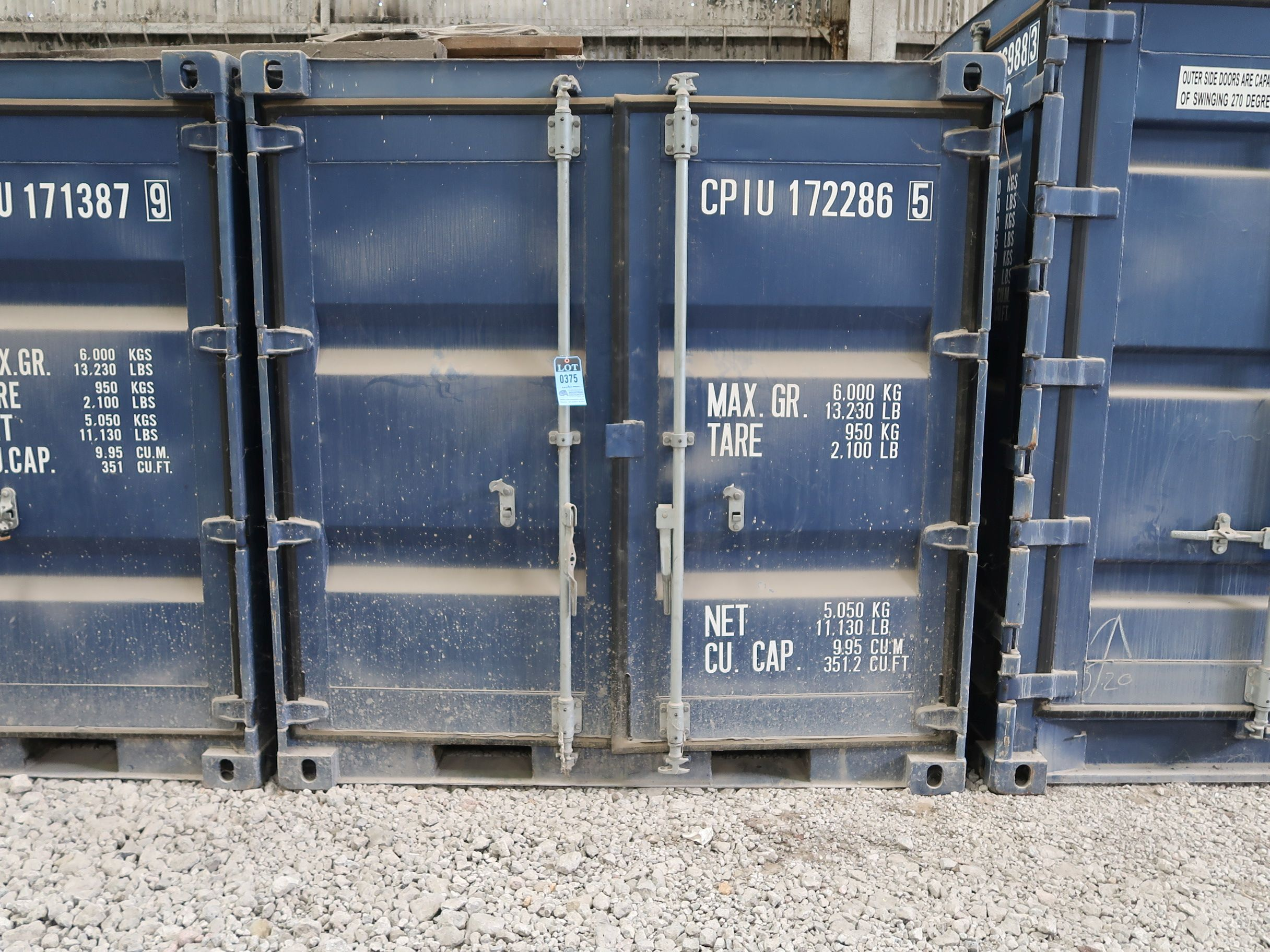 Lot 375 - 7' WIDE X 8' LONG CONTAINER PROVIDER INTL CONEX STORAGE CONTAINER WITH STANDARD DOOR, 351 CU. FT.
