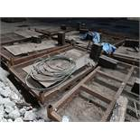 (LOT) LARGE QUANTITY OF STEEL ITEMS - PLATFORMS, BASKETS WITH RIGGING, SLINGS, SHACKLES, AND OTHER -