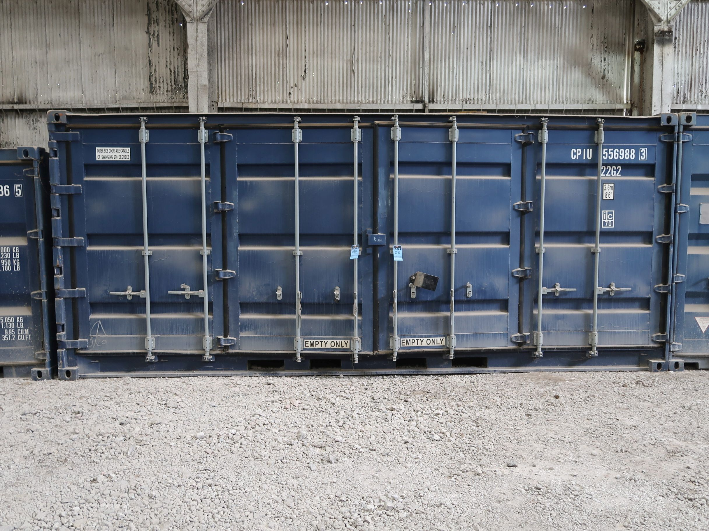 Lot 376 - 8' X 20' CONTAINER PROVIDER INTL. CONEX STORAGE CONTAINER WITH STANDARD END DOOR AND SIDE DOORS,