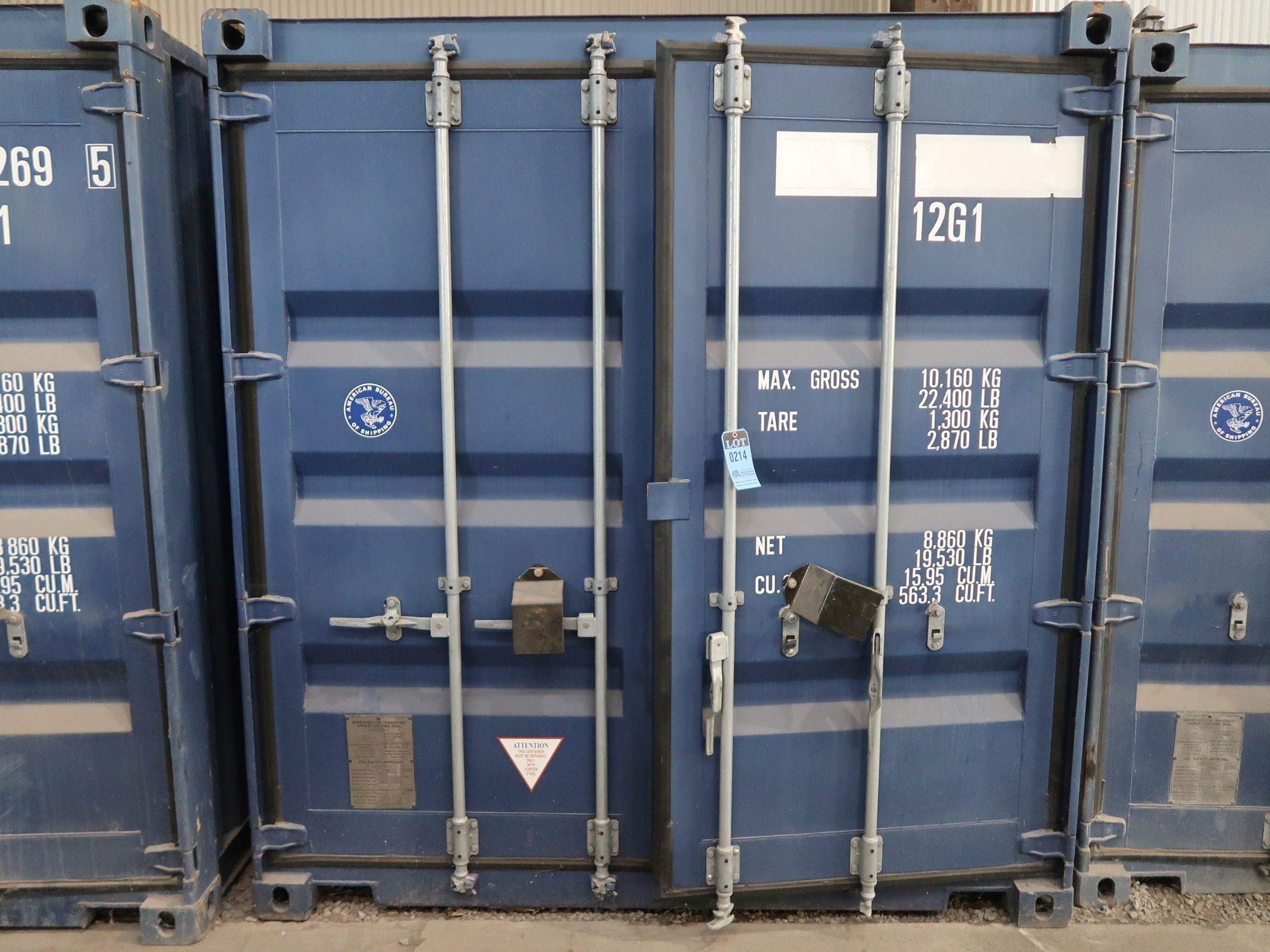 """Lot 214 - 96"""" X 118"""" X 102"""" X 563 CU. FT. CONEX STORAGE CONTAINER WITH STANDARD DOOR"""