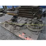 "(LOT) LARGE QUANTITY OF STEEL ITEMS: WIRE BASKET OF ROPE, STEEL RACKS, (3) 80"" X 96' FLOOR PLATES,"