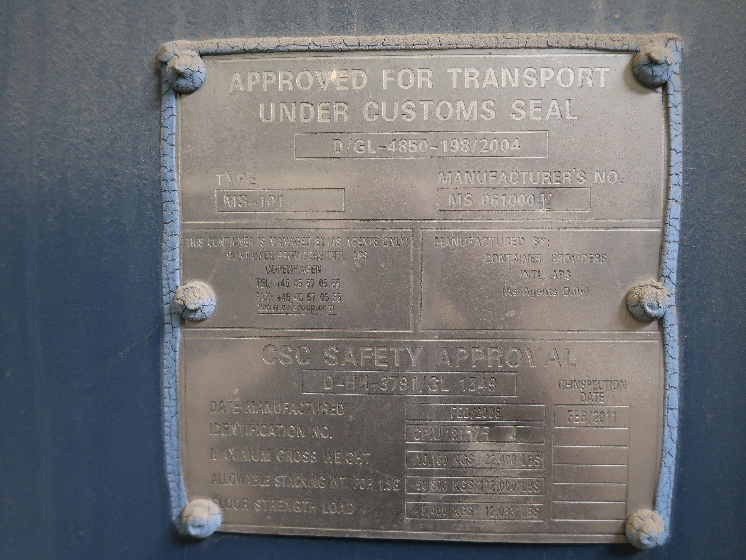 8' X 8' CONTAINER PROVIDER INTL CONEX STORAGE CONATINER WITH STANDARD END DOOR, 561 CU. FT. - Image 2 of 2