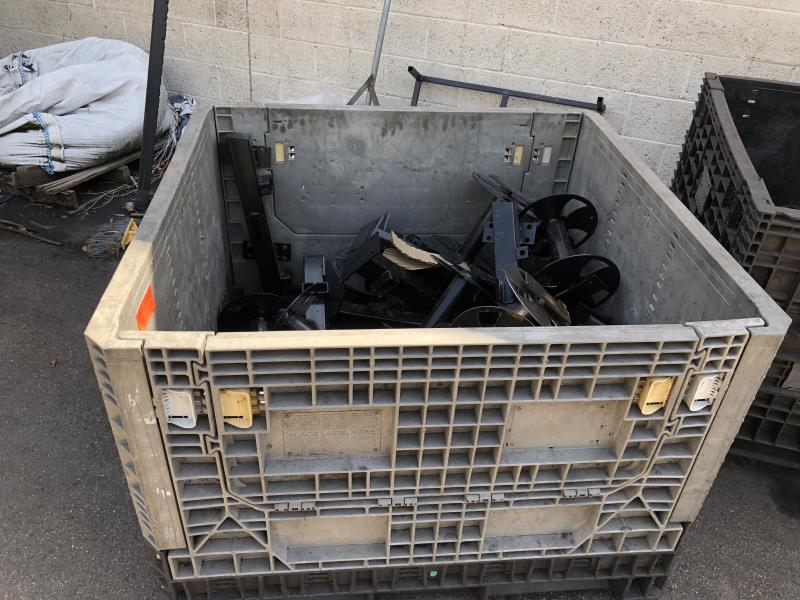 Lot 42 - Plastic tote with assorted reels