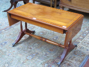 Reproduction inlaid yew coloured drop leaf sofa table for Yew sofa table