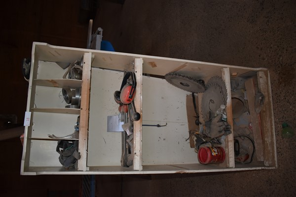 Lot 18 - Shelving Unit containing Misc. Saw Parts