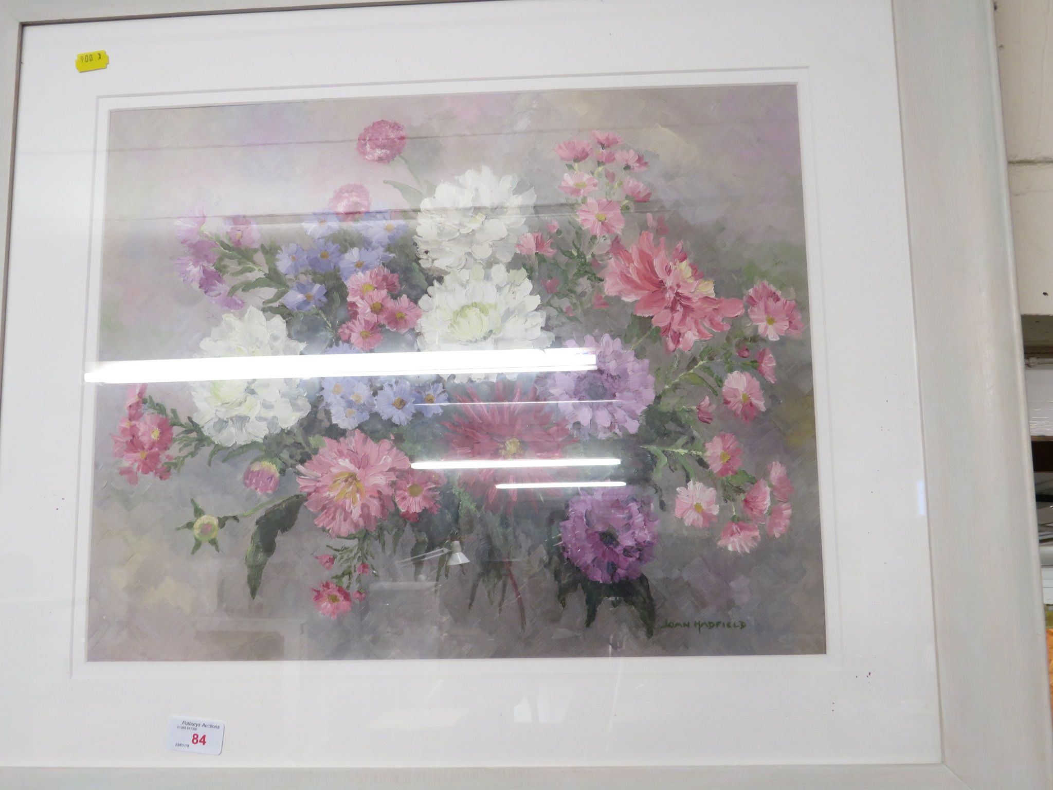 FRAMED AND GLAZED STILL LIFT PAINTING OF FLOWERS SIGNED LOWER RIGHT JOAN HADFIELD