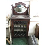 VICTORIAN MAHOGANY DISPLAY CABINET WITH SINGLE DOOR AND GOTHIC TRACERY, BACK BOARD WITH INLAY