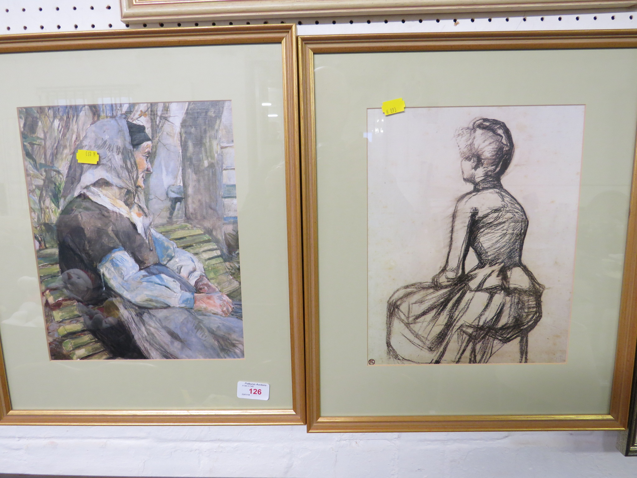 TWO REPRODUCTION PRINTS OF WOMEN, FRAMED AND GLAZED