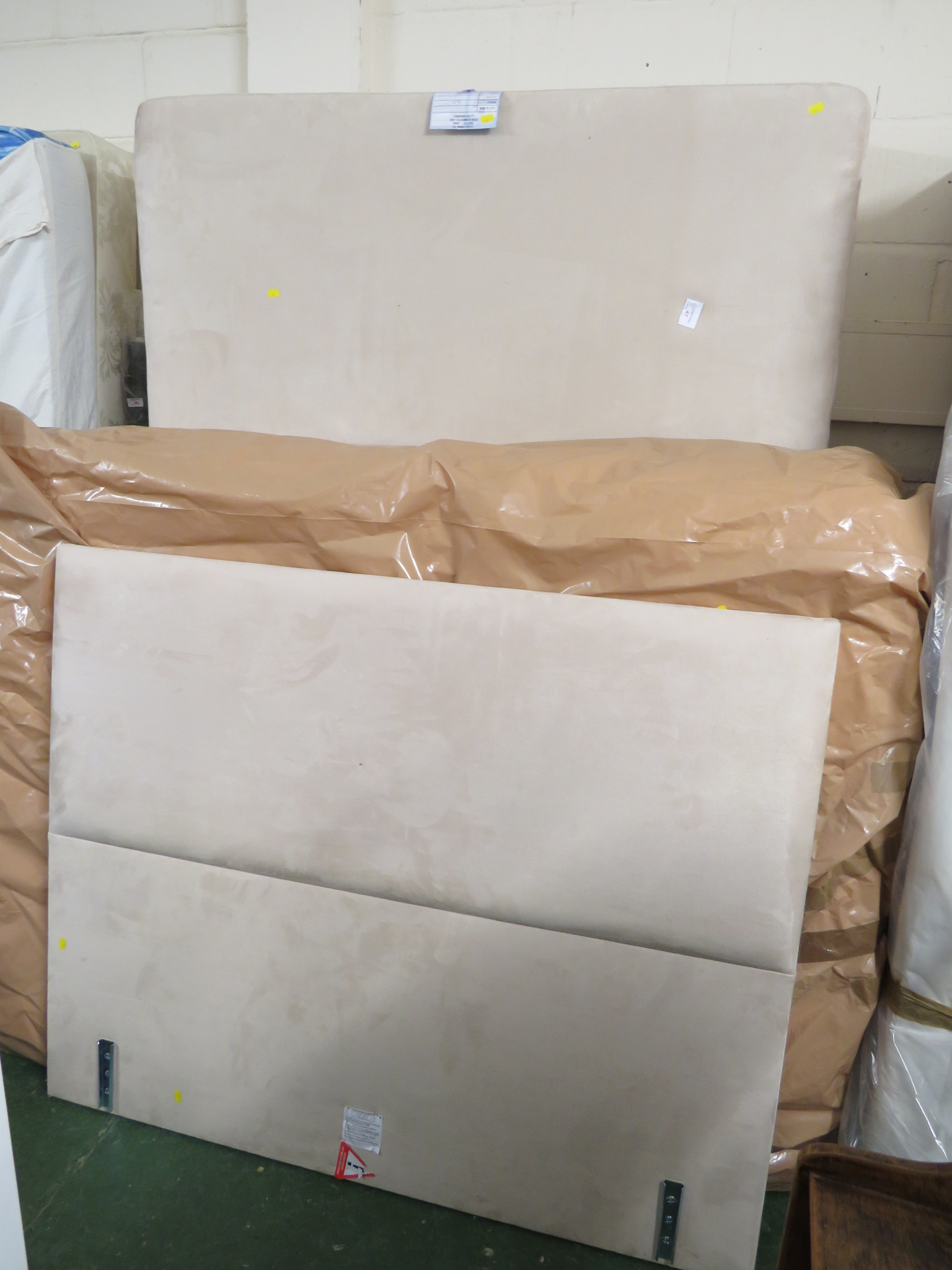 Lot 47 - VISPRING DOUBLE MATTRESS WITH SUEDE EFFECT BASE AND HEADBOARD