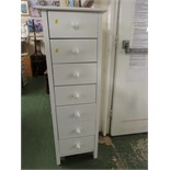 TALL AND NARROW CHEST OF SEVEN DRAWERS IN WHITE FINISH