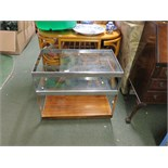 THREE TIER COFFEE TABLE WITH METAL FRAME AND GLASS SHELVES