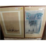TWO FRAMED AND GLAZED EGYPTIAN COLOUR PRINTS AFTER DAVID ROBERTS