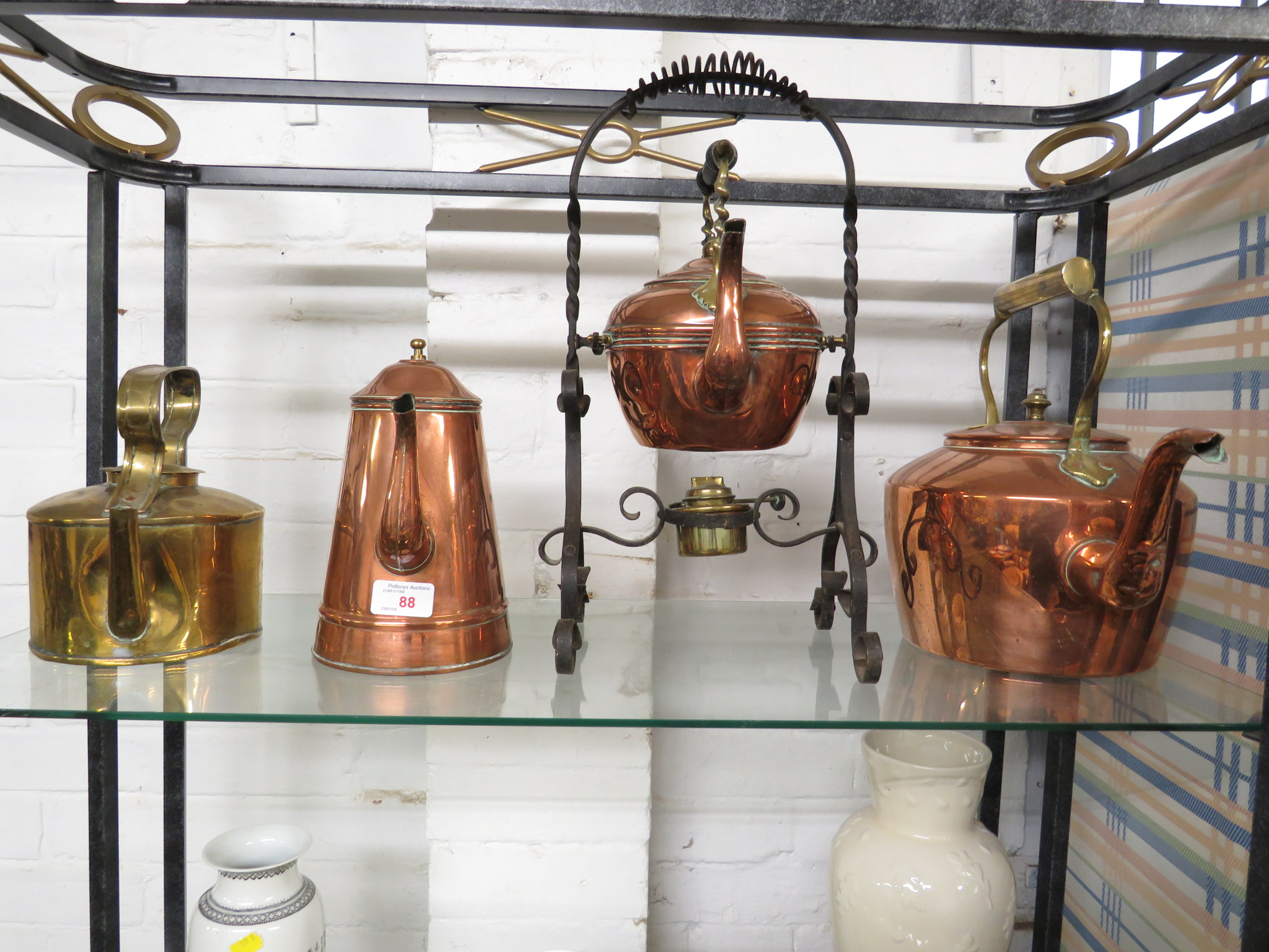 COPPER SPIRIT KETTLE ON STAND, BRASS KETTLE, COPPER KETTLE AND TEAPOT