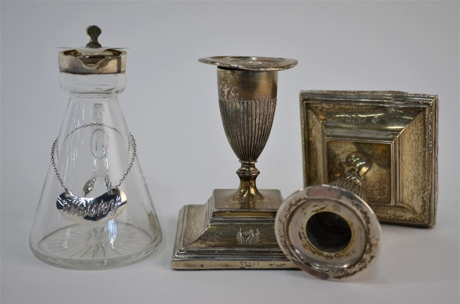 An Edwardian conical glass whisky noggin with silver collar etc, - Image 2 of 2