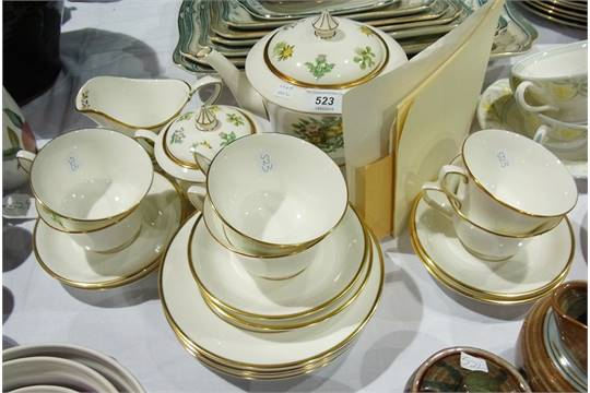 Royal Worcester China Wildflowers Of Britain Wedding Teaset Decorated With The Thistle Scotl