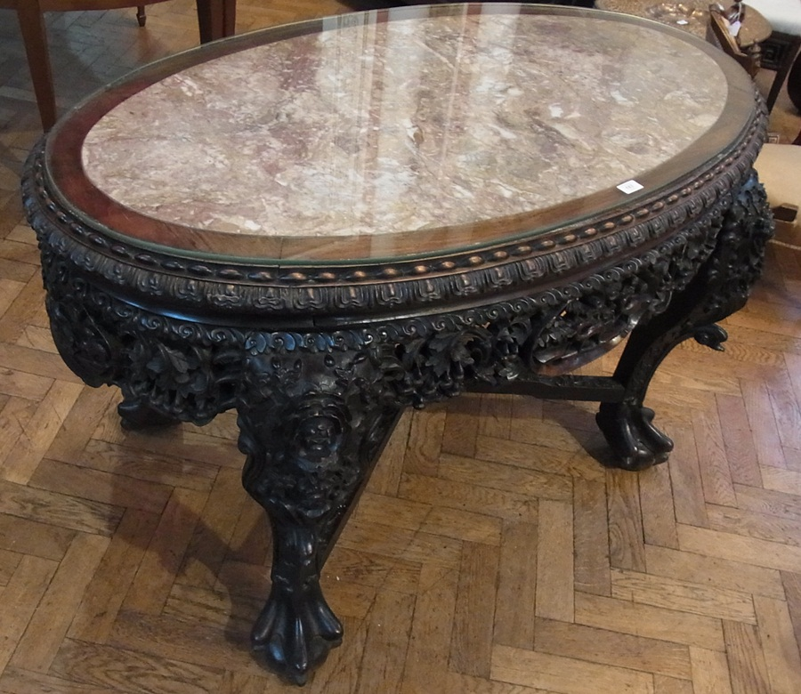 Lot 183 - Chinese marble and carved rosewood table