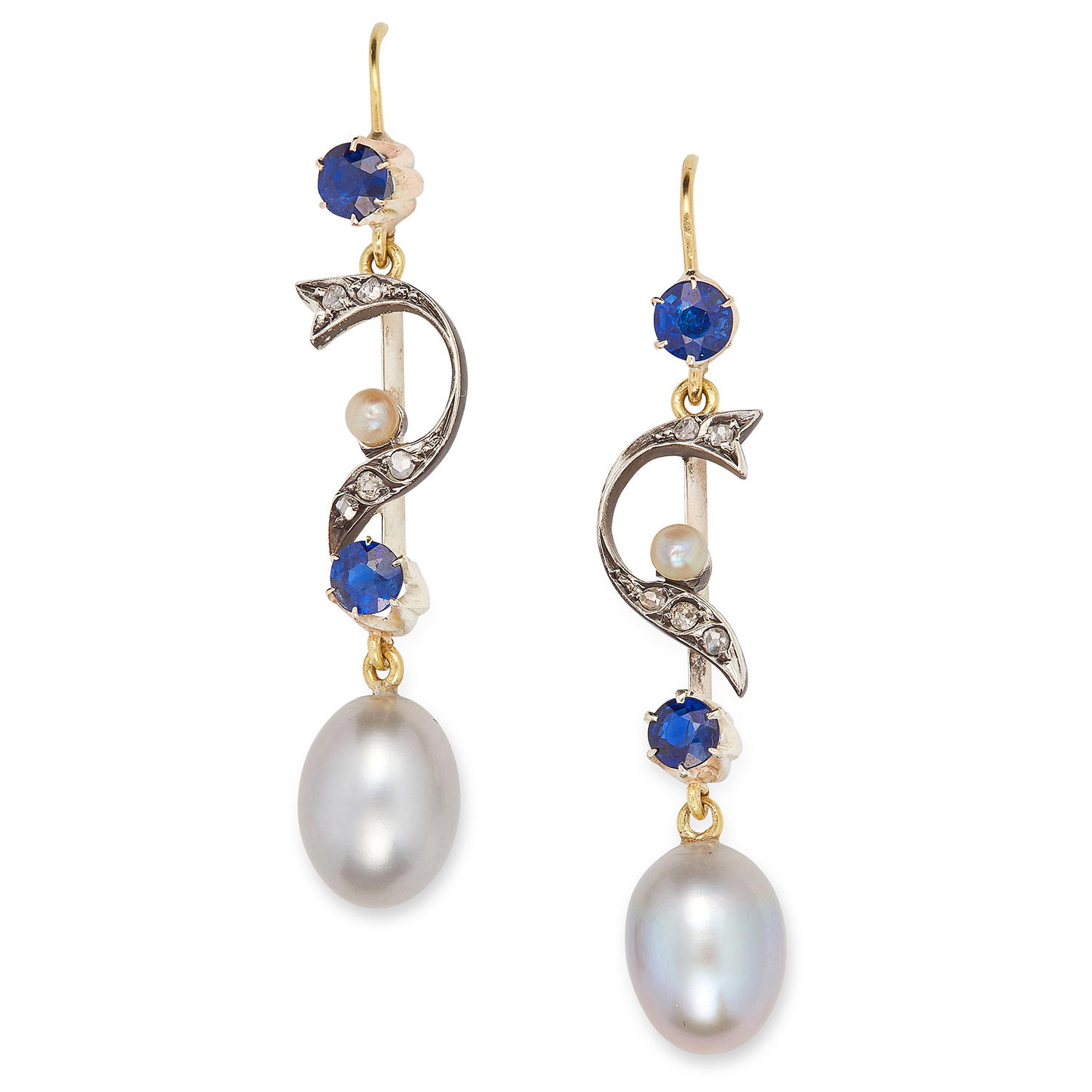 Los 10 - ANTIQUE PEARL, SAPPHIRE AND DIAMOND EARRINGS set with round cut sapphires and rose cut diamonds,