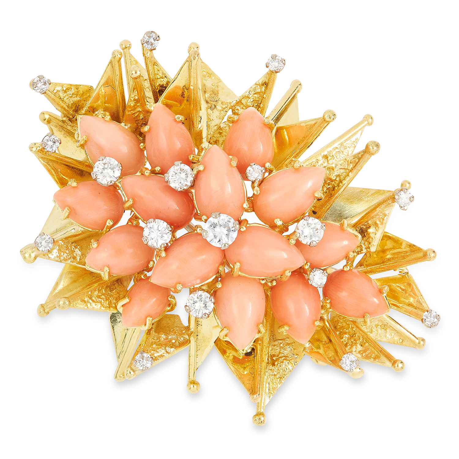 Los 34 - VINTAGE CORAL AND DIAMOND BROOCH, ANDREW GRIMA 1973 set with coral cabochons and round cut diamonds,