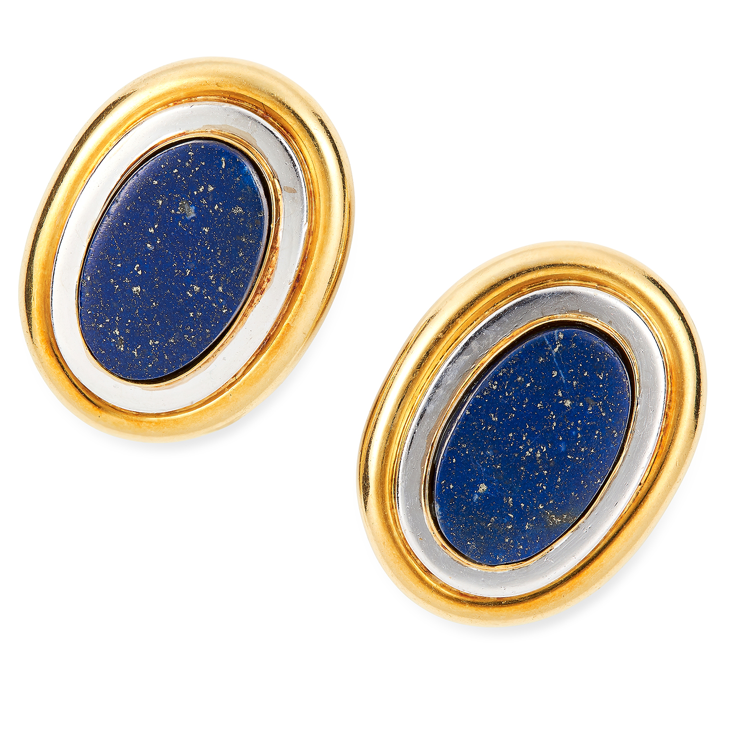 Los 22 - VINTAGE LAPIS LAZULI EARRINGS, PALOMA PICASSO FOR TIFFANY AND CO each set with a polished piece of