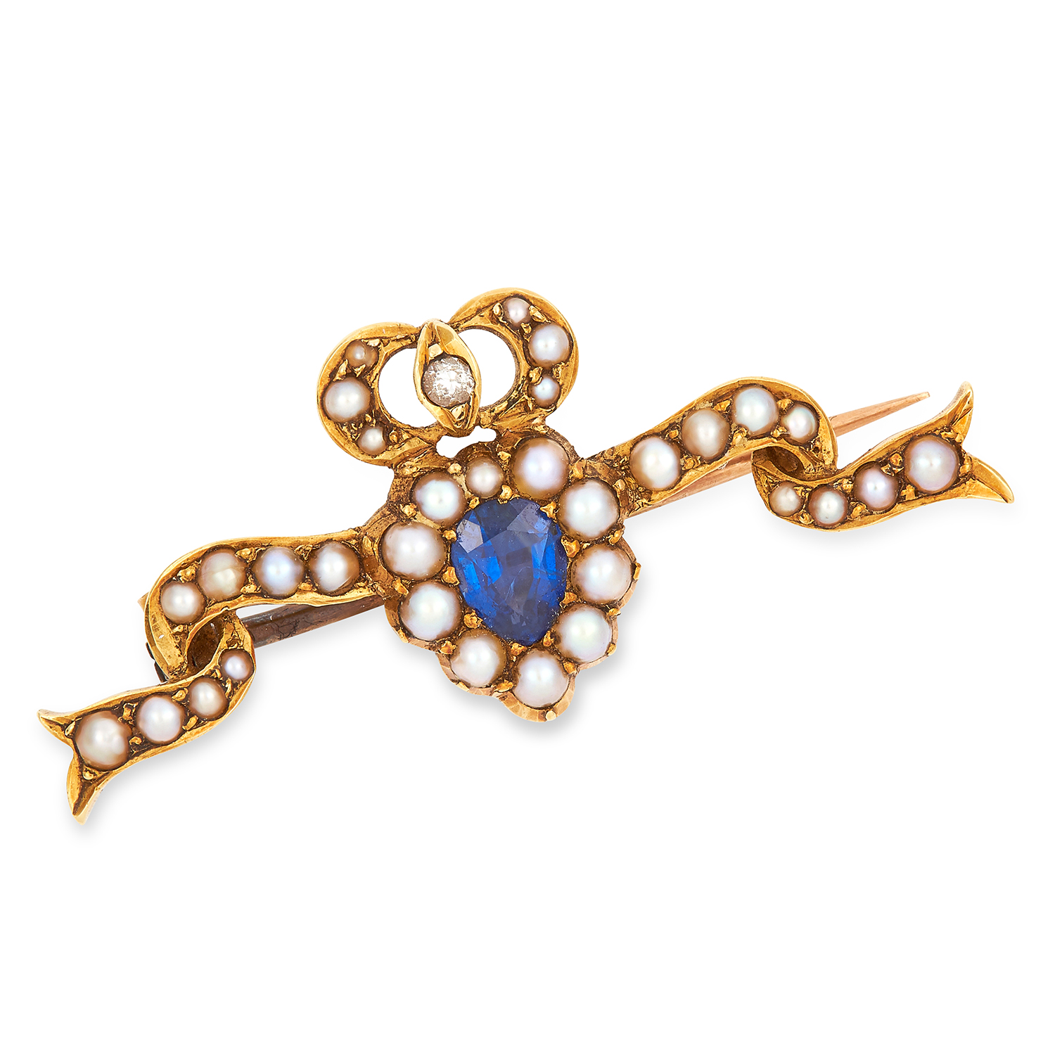 Los 54 - ANTIQUE SAPPHIRE, DIAMOND AND PEARL SWEETHEART BROOCH, 19TH CENTURY set with a pear cut sapphire,