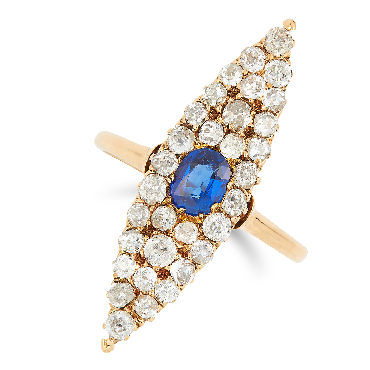 Los 53 - ANTIQUE SAPPHIRE AND DIAMOND RING set with a cushion cut sapphire of 0.70 carats and old cut