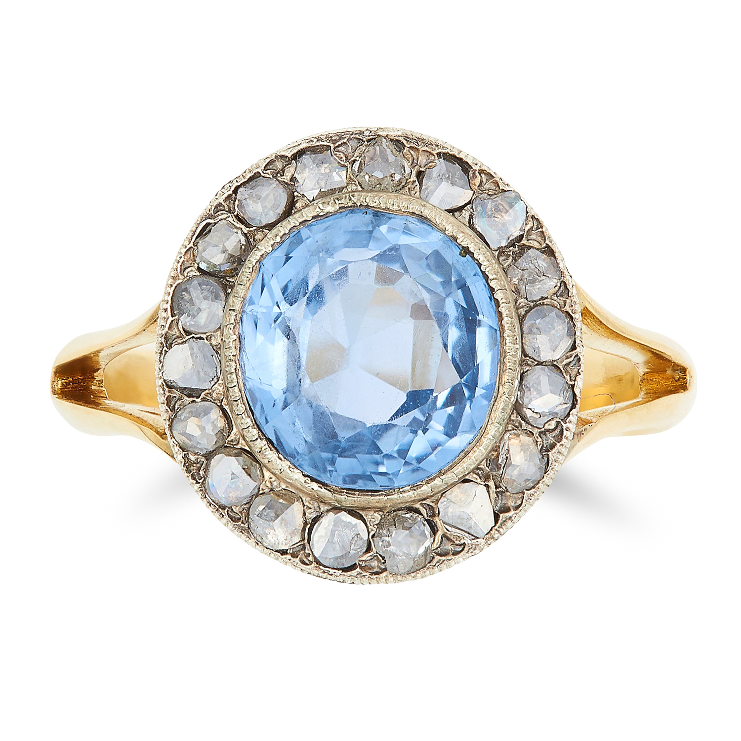 Los 51 - 2.55 CARAT CEYLON NO HEAT SAPPHIRE AND DIAMOND RING set with an oval cut sapphire of 2.55 carats and