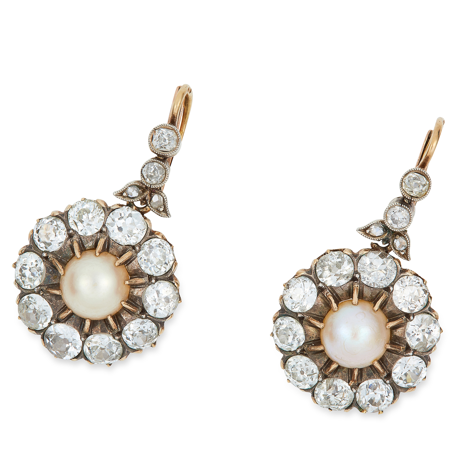 Los 5 - ANTIQUE PEARL AND DIMOND CLUSTER EARRINGS, the pearls of 7.6mm within clusters of old cut diamonds