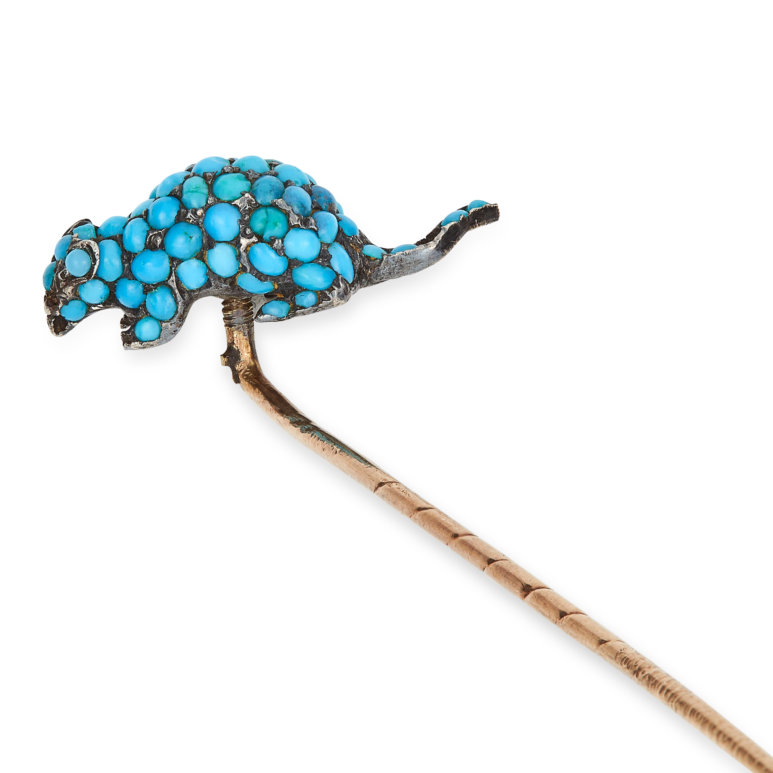 Los 48 - ANTIQUE TURQUOISE RAT / MOUSE STICK PIN set with turquoise cabochons, 7.4cm, 4.4g.