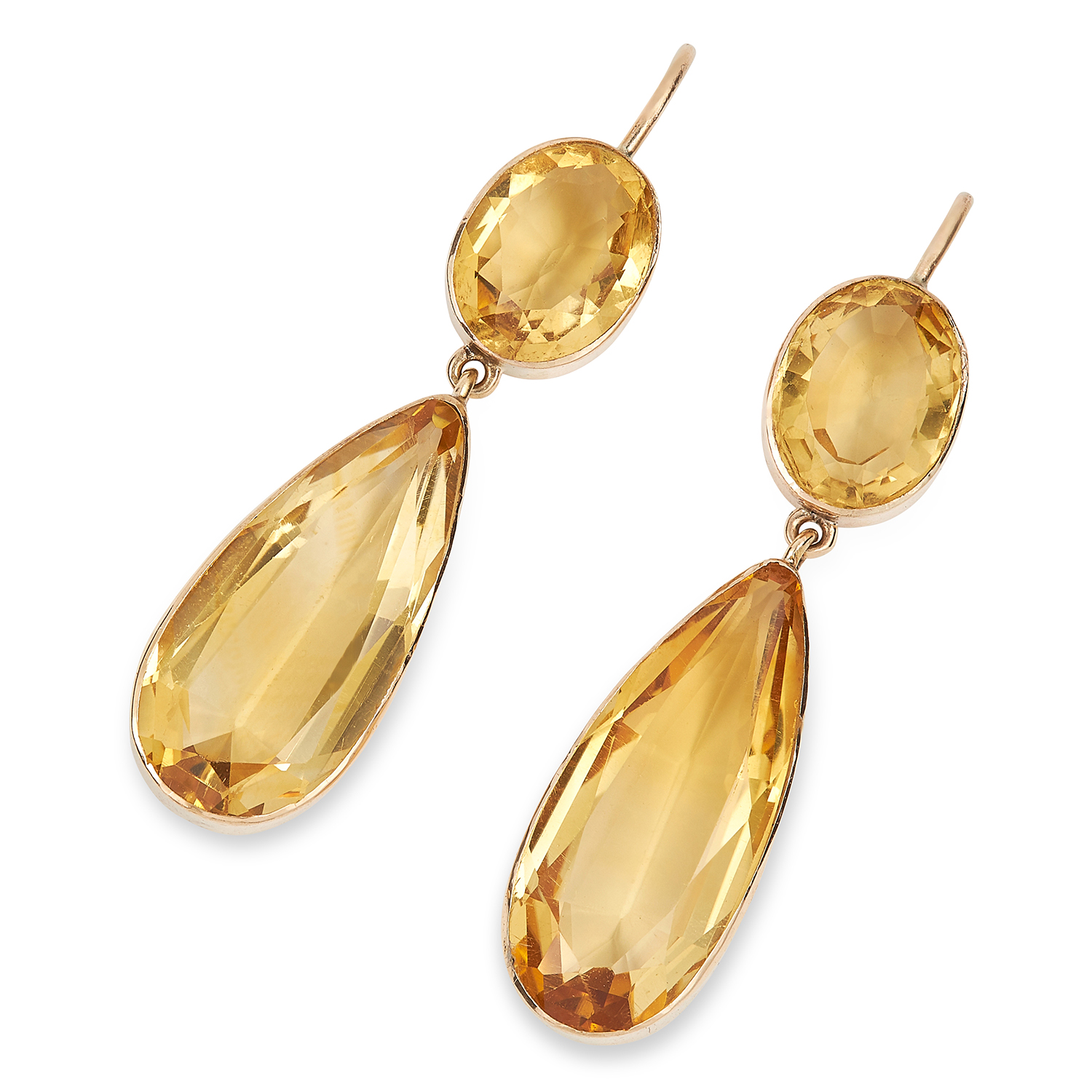 Los 45 - ANTIQUE CITRINE EARRINGS set with pear and oval cut citrines, 4.0cm, 5.8g.
