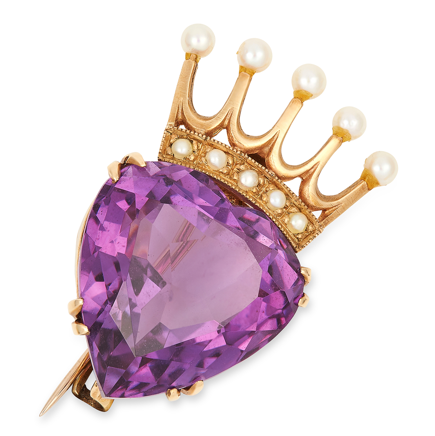 Los 58 - AMETHYST AND PEARL BROOCH / PENDANT set with a pear cut amethyst and seed pearls in a crown motif,