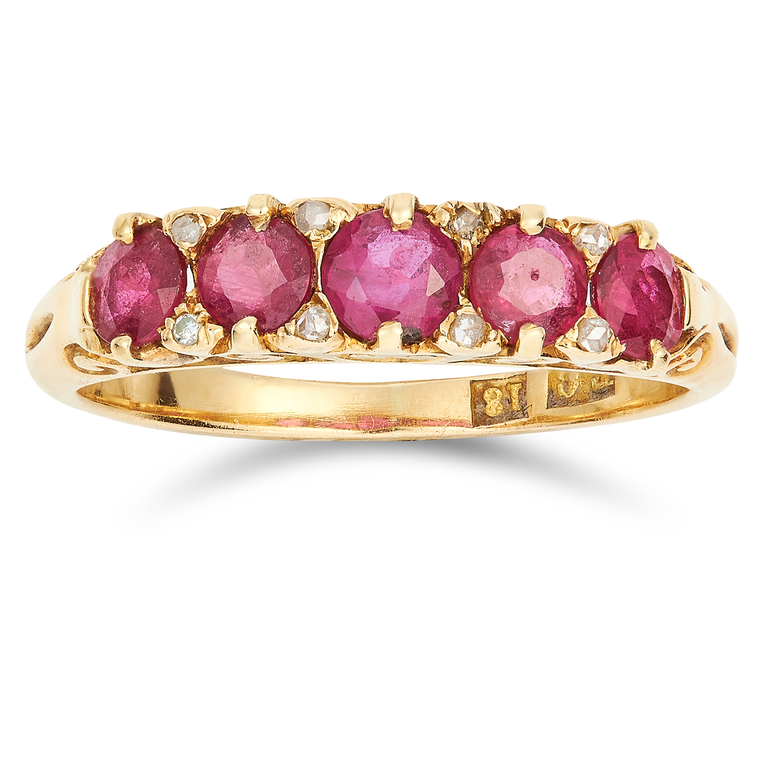 Los 26 - ANTIQUE UNHEATED RUBY AND DIAMOND RING CIRCA 1890 set with five cushion cut rubies totalling 0.70